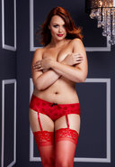 Red Rose Open Crotch Boyshort Panty-q